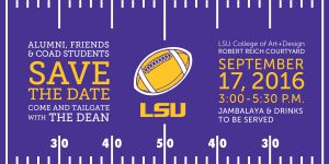 Graphic advertising the 2016 Dean's Tailgate