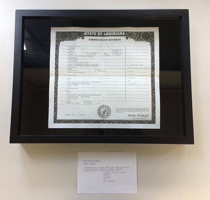 State of Louisiana birth certificate. lsu photography student work