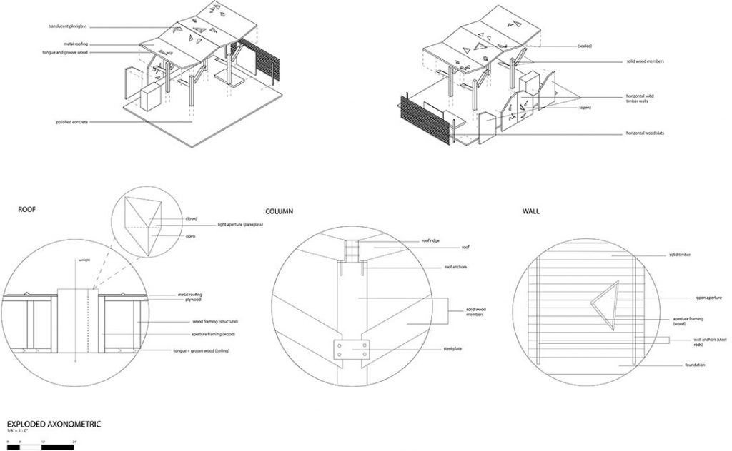 Diagram of structure with roof, column, wall. lsu arch 2002