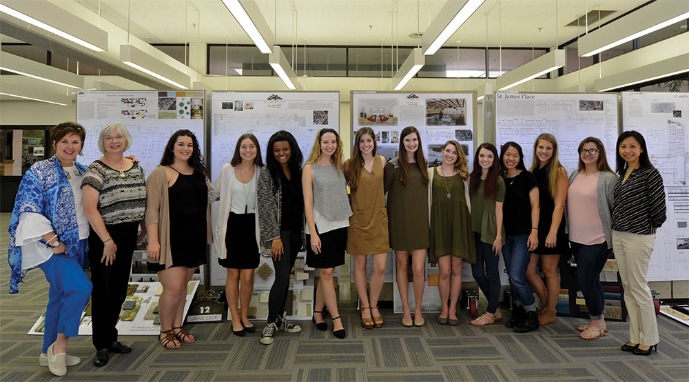 Janet Dewey and Cori Lanclos attended the studio's final reviews and selected three projects to be presented to administrators at St. James Place.