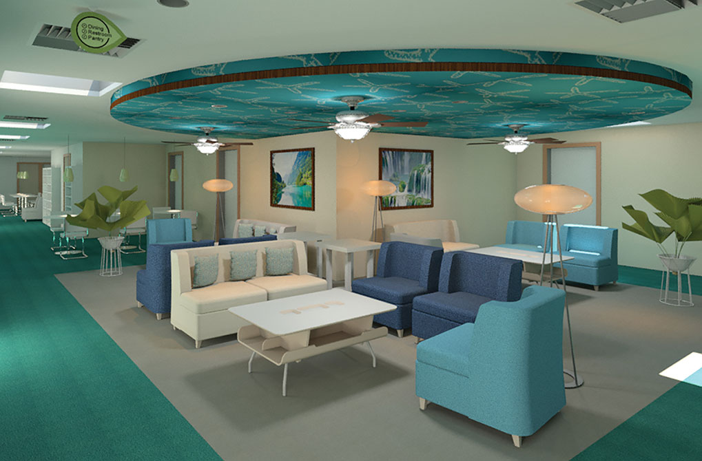 teal and blue waiting room, lsu interior design work