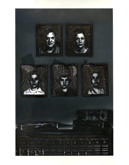 Miriam Buckner , framed images of peoples faces, gallery 229 exhibition