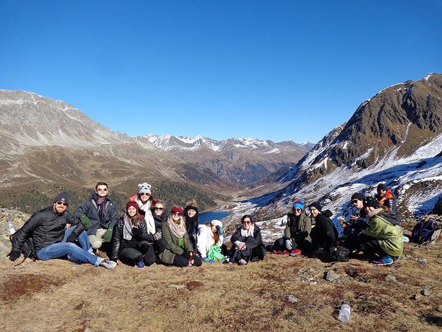 lsu rome program students hiking Dolomite mountains