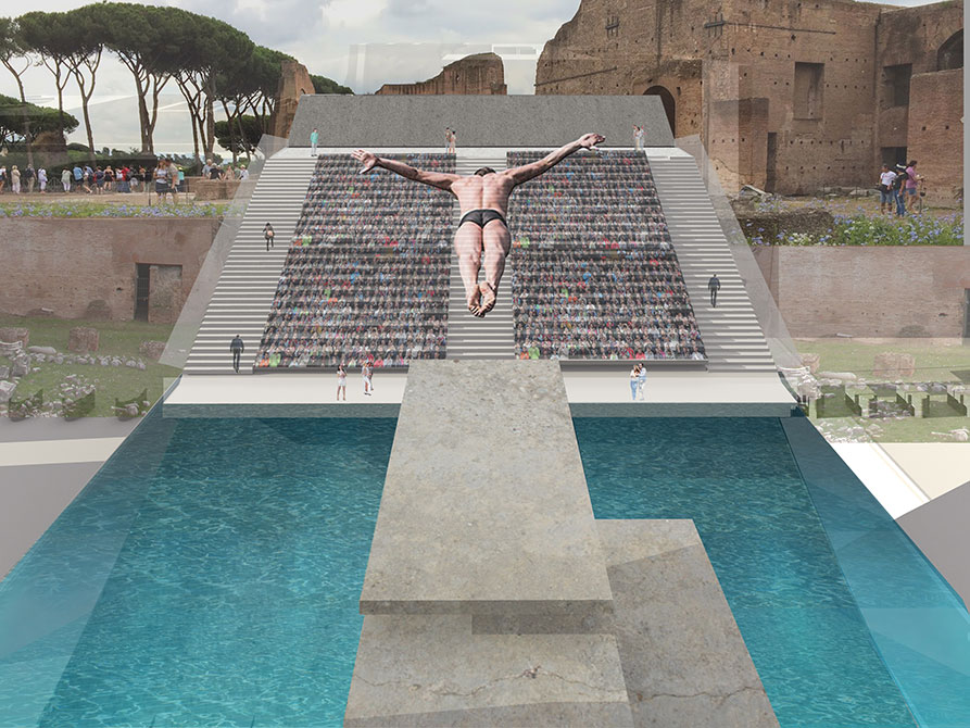 Students designed a diving site for the 2024 Summer Olympics at the Hippodrome of St. Domitian. Rendering by Kelsey Liggio (BID 2016)