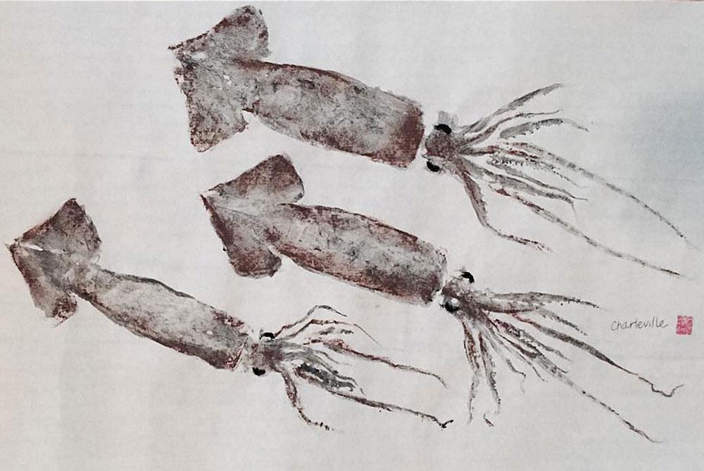 leslie charleville work, squid prints