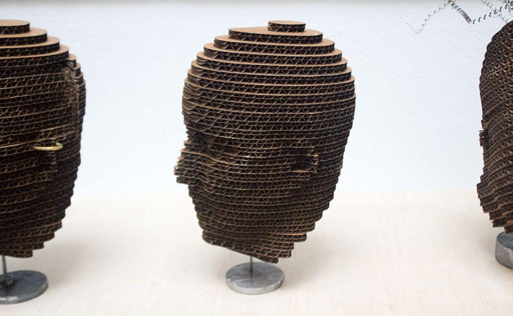 paul callahan cardboard head sculpture
