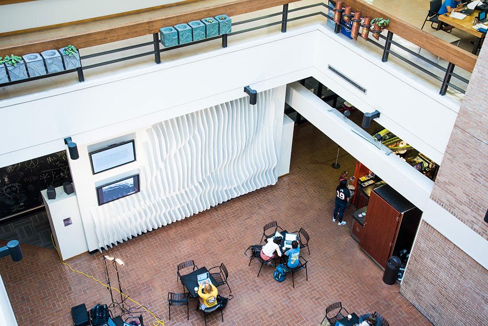 design atrium display, rising water installation