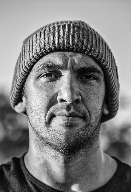 Black and white portrait of skater