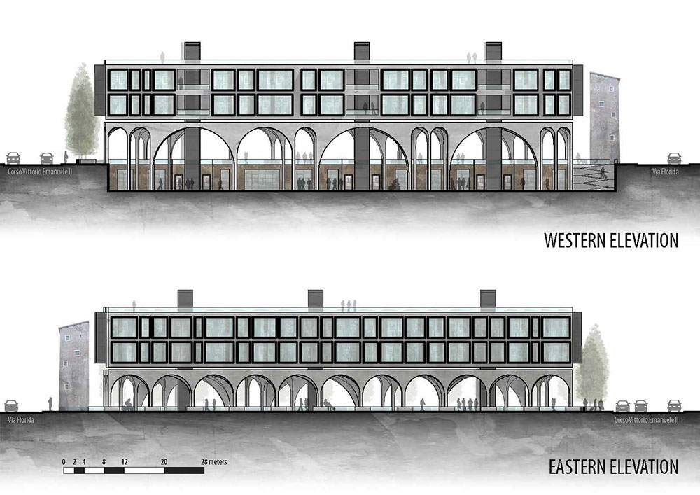 Elevation view of new building in Rome