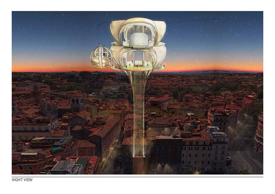 Rendering of gondola system over Rome at night