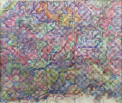 Multicolored drawing of topographic contour lines