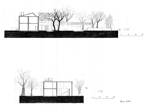 Elevation drawings of James Rose Home and Garden