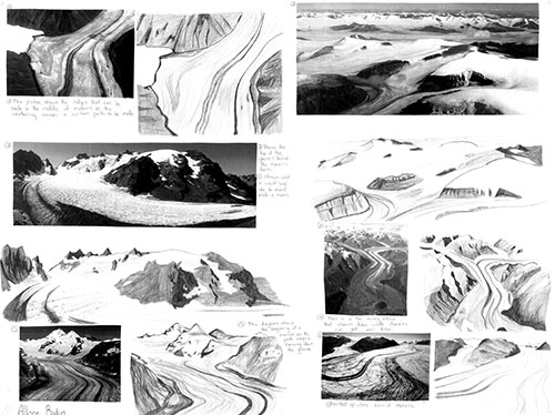 Collage of pictures and drawings of glaciers