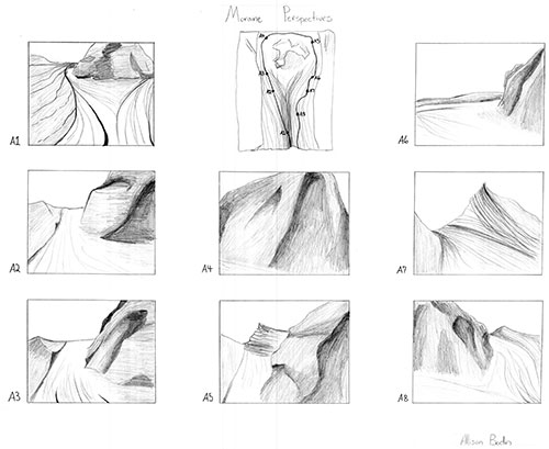 Pencil drawings of views of trail through glacier landscape