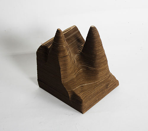 Wooden contour model of volcanic tuff landscape