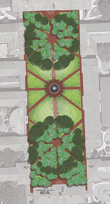 Plan rendering of campus quad redesign
