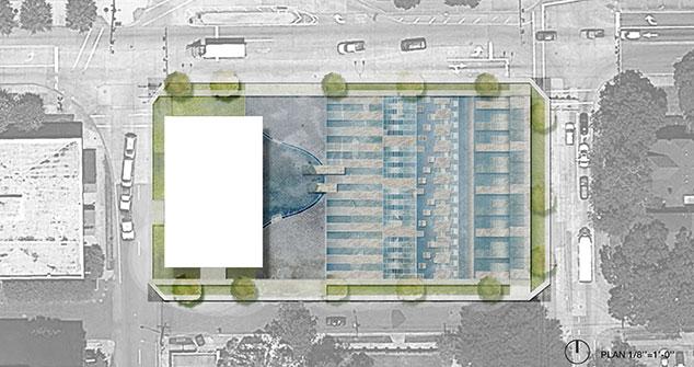 Overhead concept image of water garden