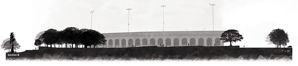 Elevation of Memorial Stadium Park, Baton Rouge
