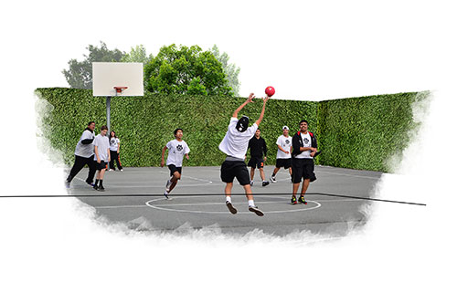 Concept image of basketball court