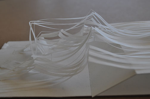 Side view of conceptual paper model