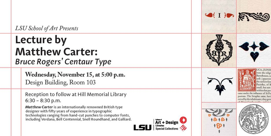 Matthew Carter will lecture at the College of Art & Design