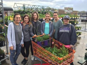 Interior design students chose plants for the wellness garden project.
