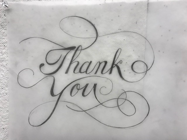 "Calligraphy ""thank you"" at Hand Lettering Workshop with Peter Bain"