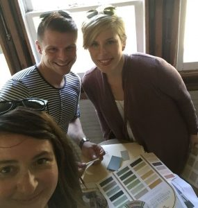 Tracy, Blake, and Erin select paint colors