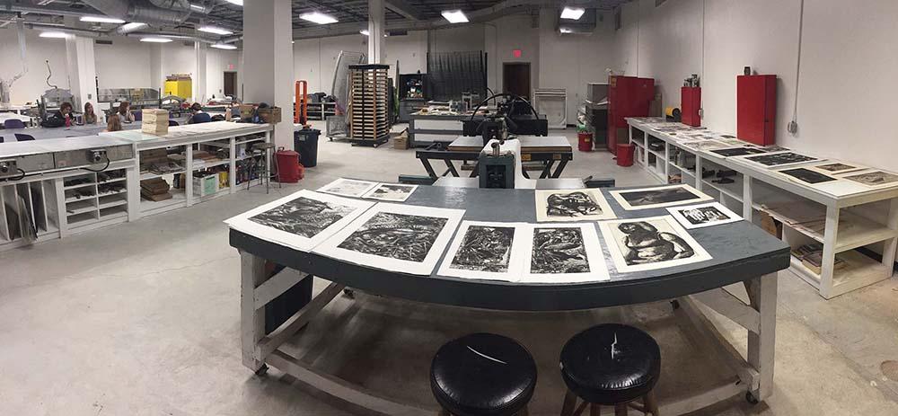LSU printmaking studio, prints on table