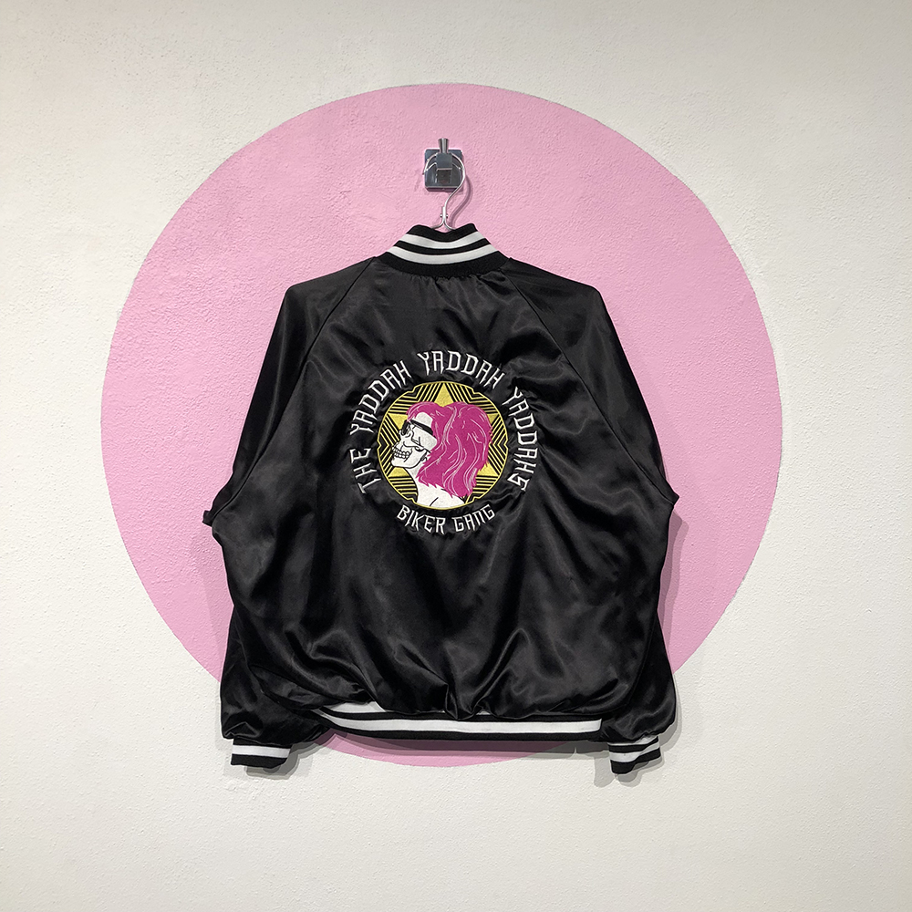 "jacket with text ""the yaddah yaddah"" by Leslie Friedman"