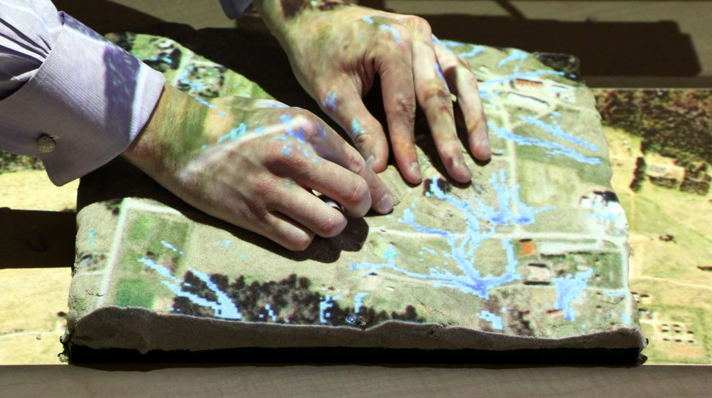 hands on Tangible Landscape model
