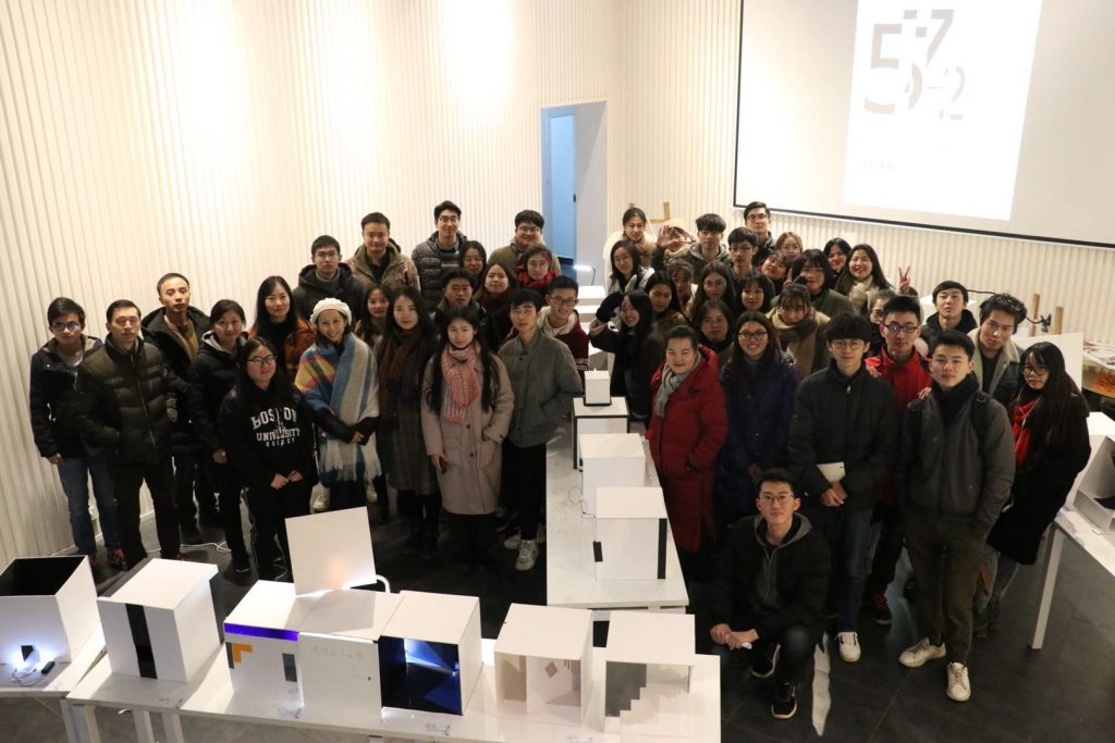 Lighting design workshop participants in lecture/studio in China