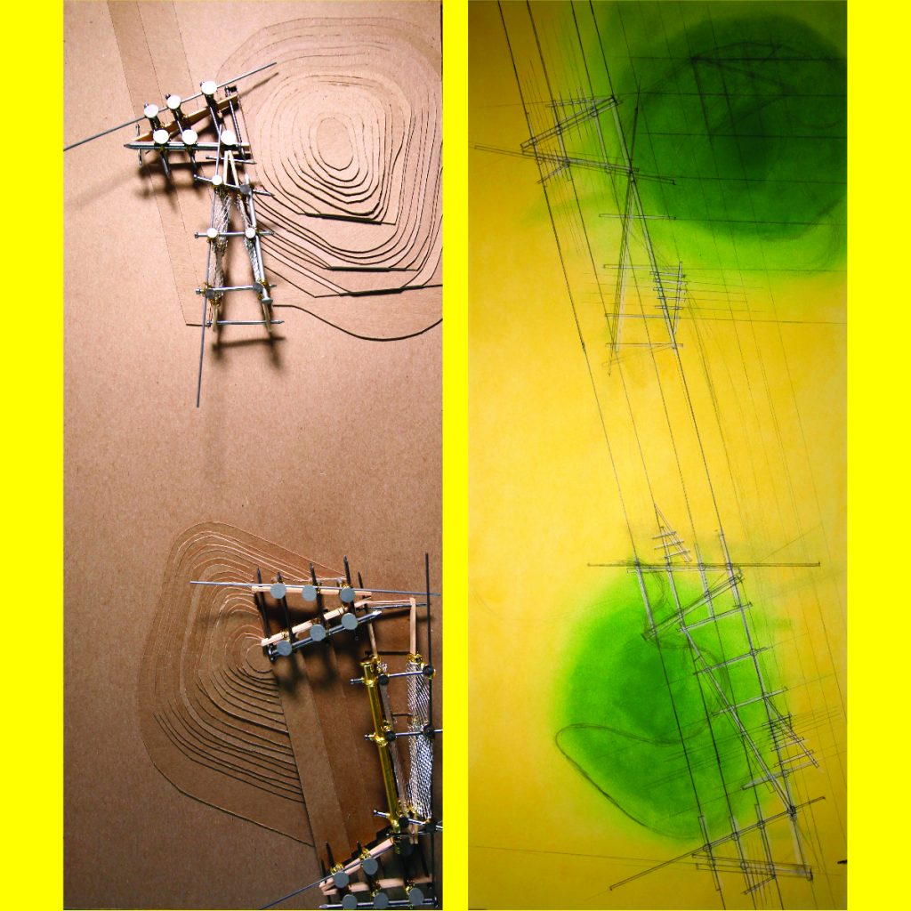 yellow sketch with green core beside cardboard representation of mountains and metal constructions