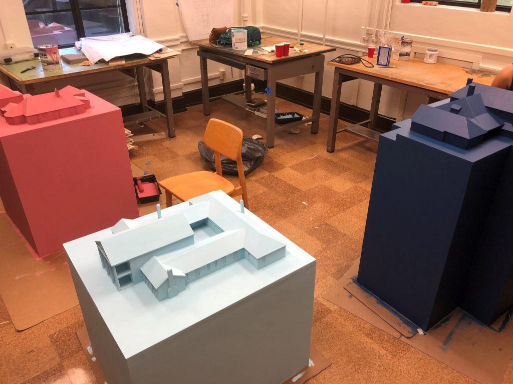 Architecture models under construction in workshop