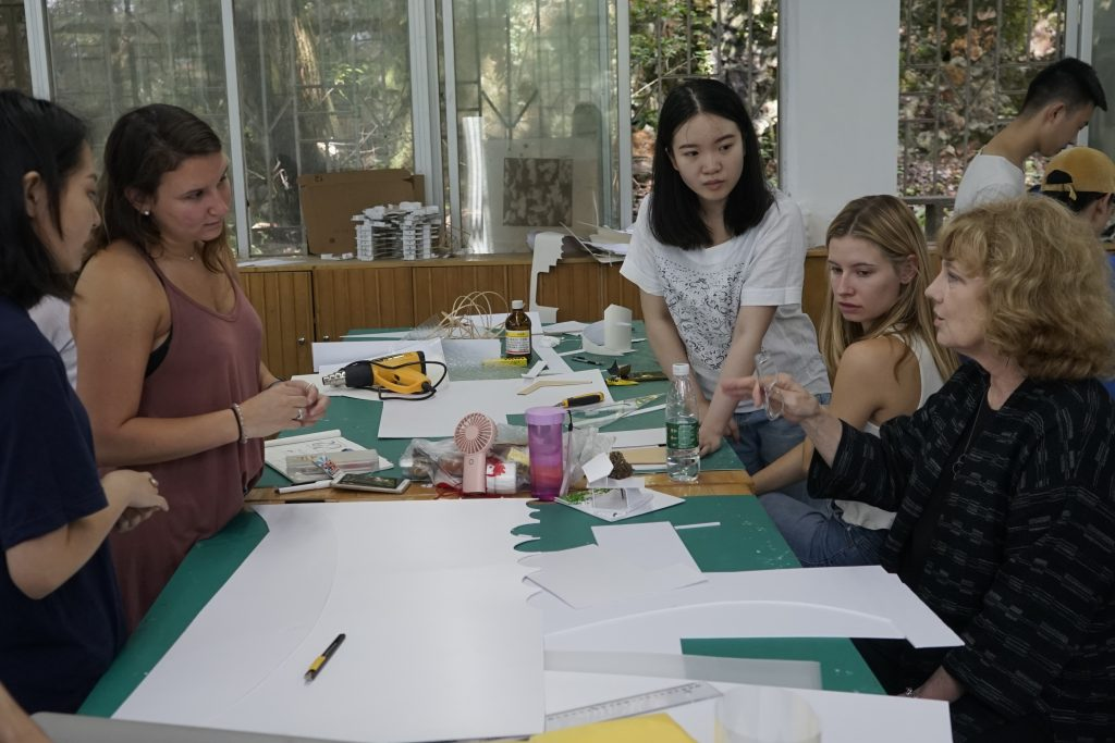 Professor Cuddeback discusses biophilic design with Chinese and American students