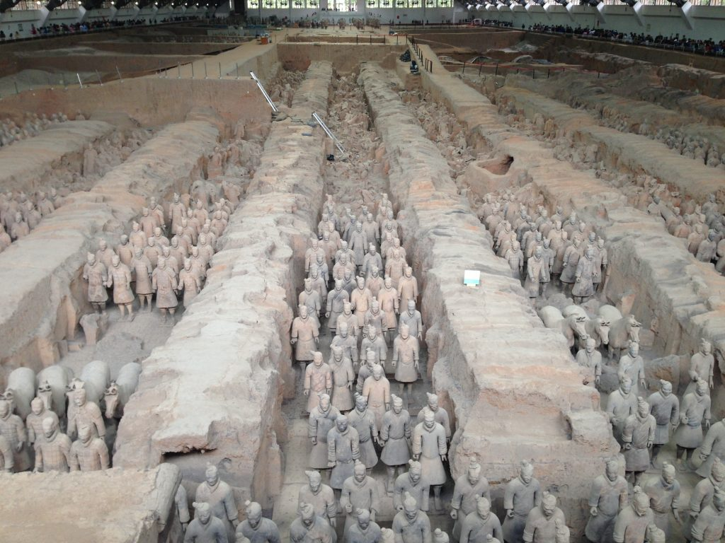 The Terracotta Army: ancient terracotta warriors.