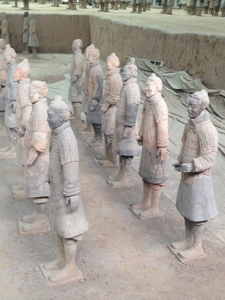 "Soldiers built to ""protect"" the tomb of Qin Shi Huangdi, the first emperor of China."