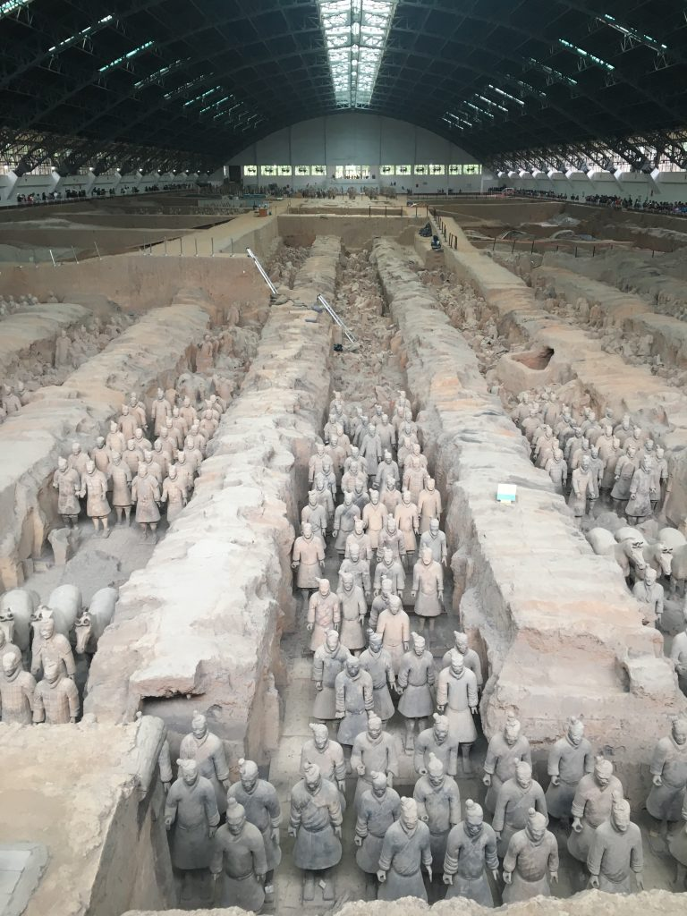 Terracotta warriors in rows