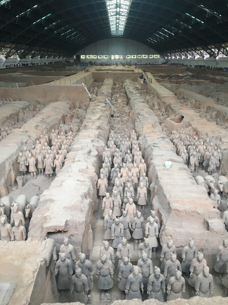 Terracotta warriors in rows