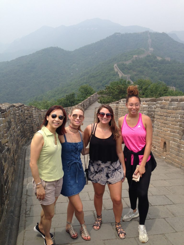 Young women on Great Wall of China