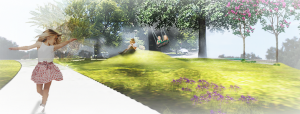 Concept image of young girl dancing down park path