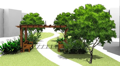 Design of park pathway and bench under trees