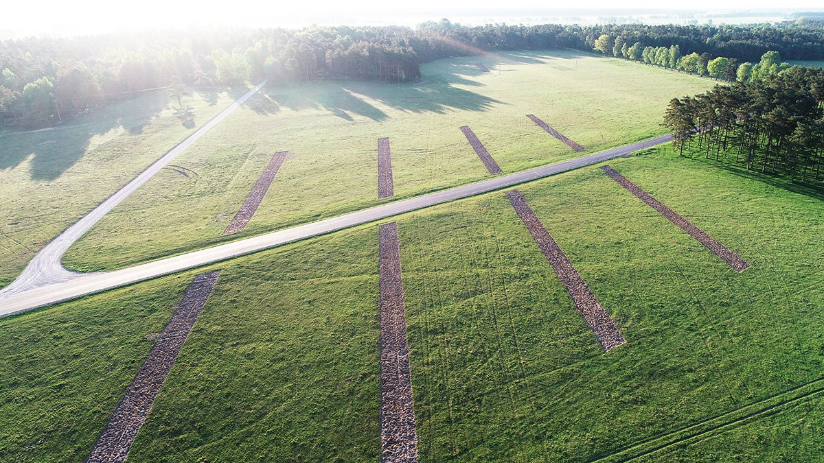 Broken Kilometer land art piece, Sweden