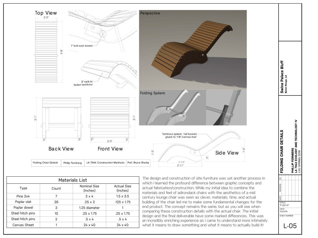 Concept image and plan views of wooden chair