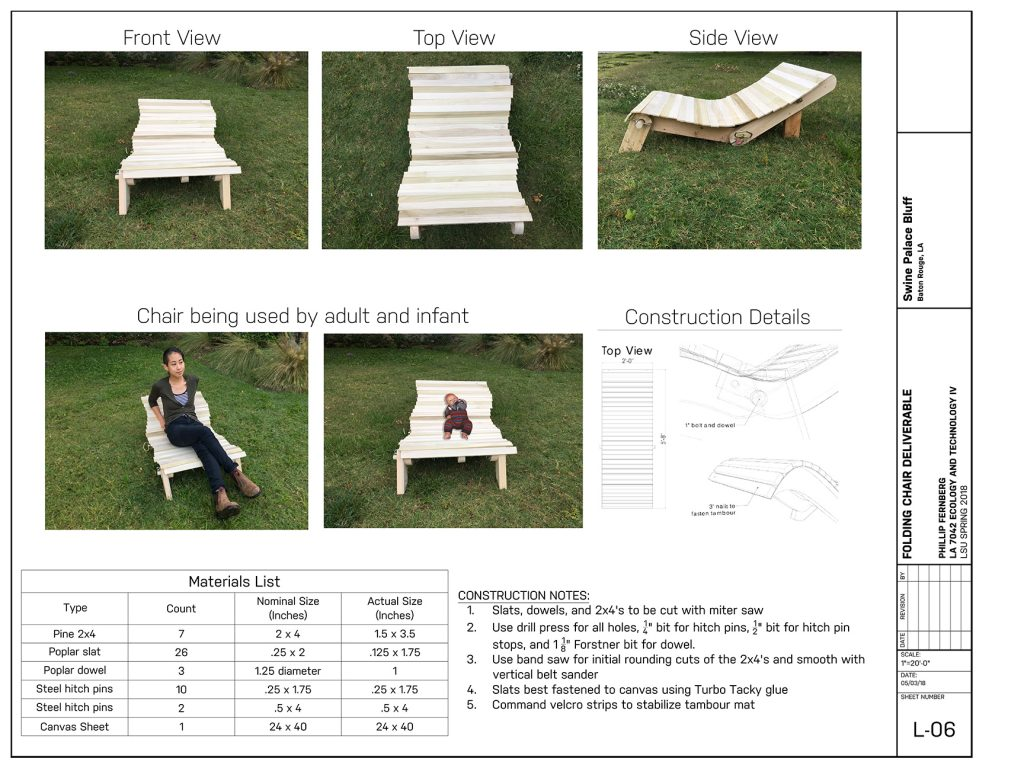 Images and construction plan for wooden chair