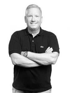 Black and white portrait photo of Kevin Benham