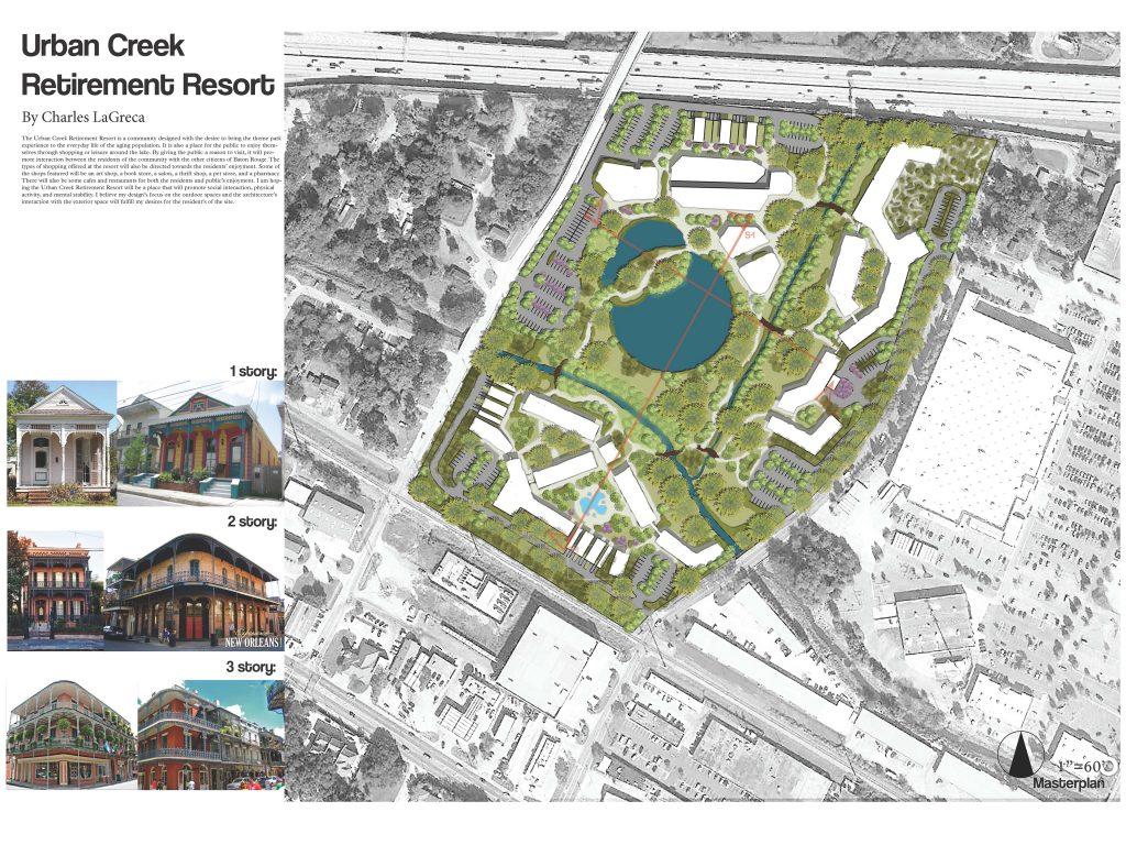 Urban Creek retirement resort overhead concept view