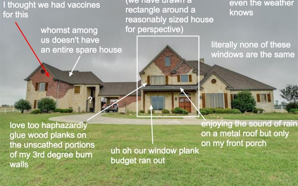 Photo with captions critiquing house