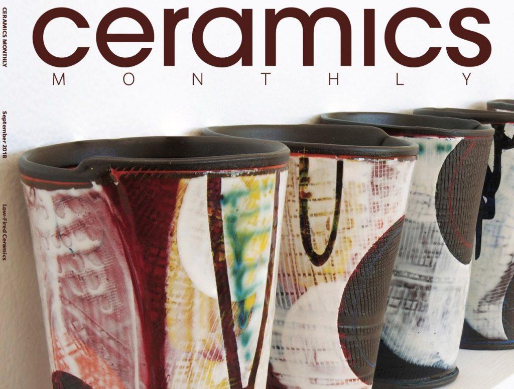 Ceramics Monthly cover with colorful ceramics