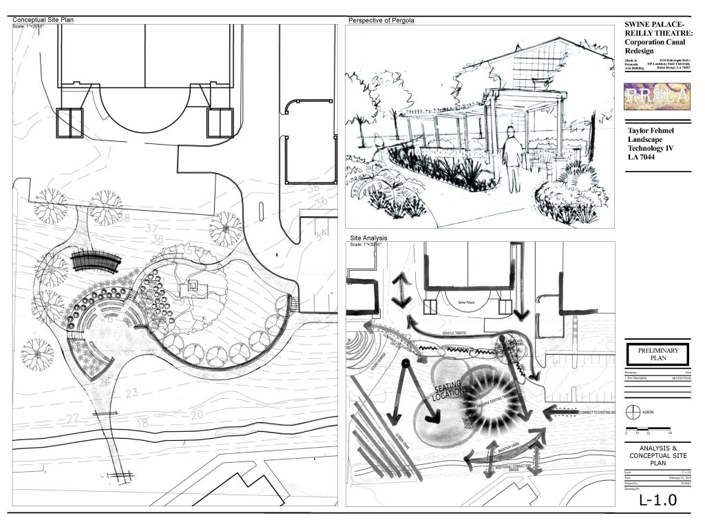 Conceptual drawings of site plan for swine palace